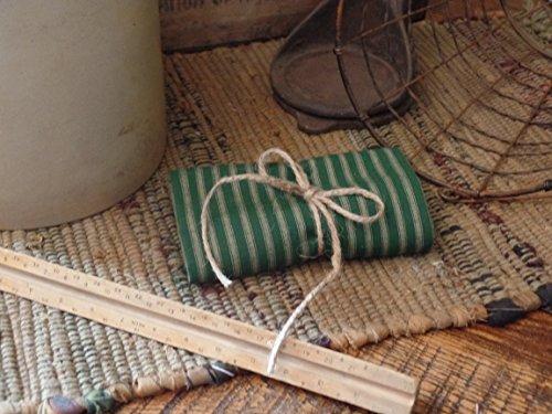 (Homespun Fabric~Hunter Green & Tan Reverse Ticking Stripe~Primitives~Country~Folk~One Yard Cut~Prim Hang Tag~)