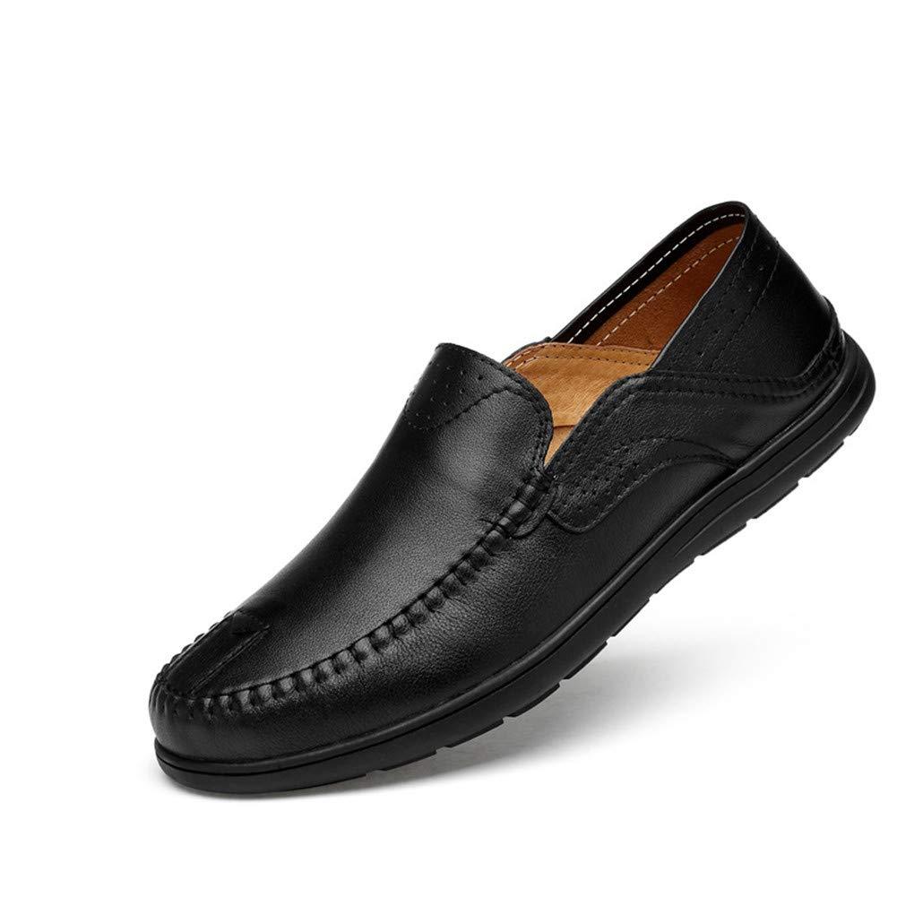 Weixiao Herren Müßiggänger, Lederschuhe Atmungsaktive Freizeitschuhe Faule Schuhe Weiche Unterseite Große Schuhe (Farbe : B, Größe : 38)