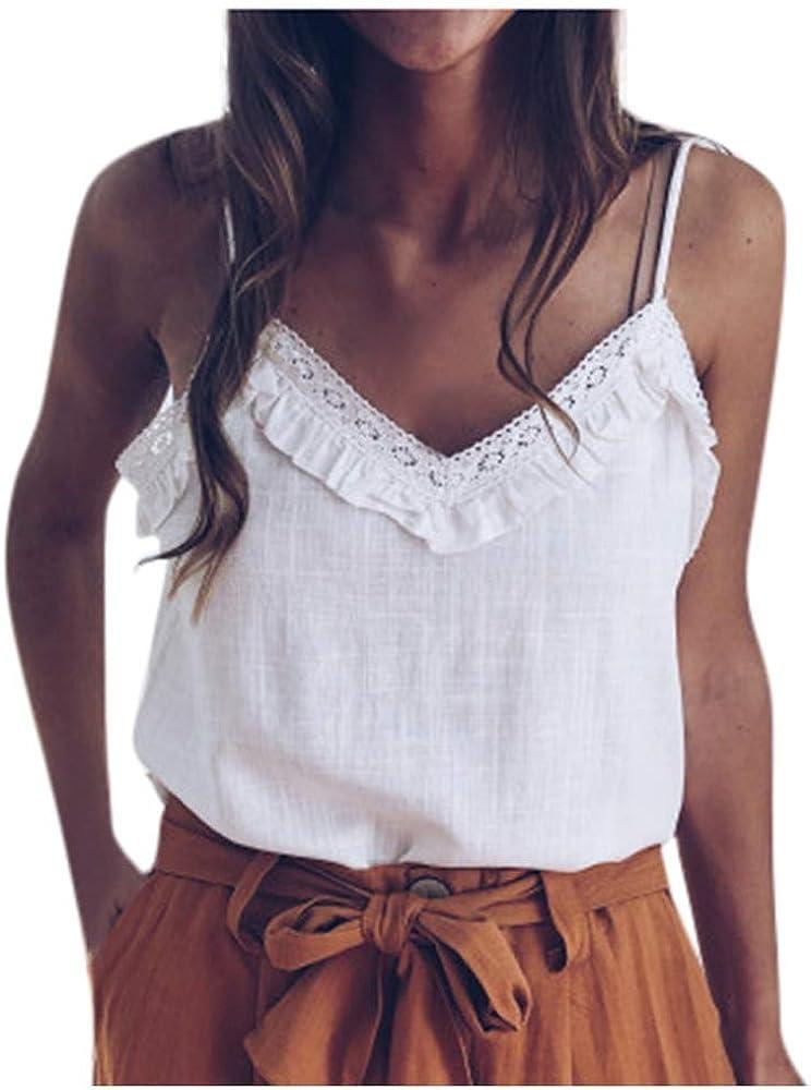 Wankting - Chaleco de Encaje para Mujer, Sexy, Cuello en V, sin Mangas, con Hombros Descubiertos, Camiseta, Blusa de Verano 2020, Chaleco de Moda de Verano 2020, Camiseta sin Mangas Blanco Blanco