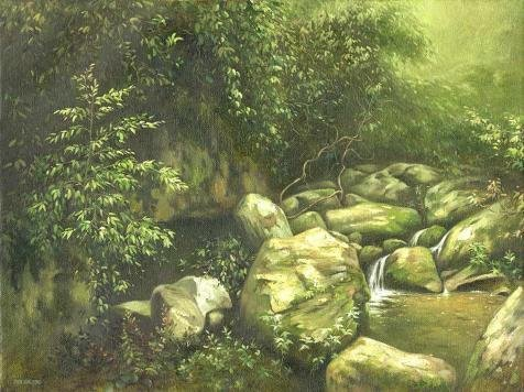 'The Brook In The Forest' Oil Painting, 24x32 Inch / 61x82 Cm ,printed On Perfect Effect Canvas ,this Replica Art DecorativeCanvas Prints Is Perfectly Suitalbe For Kids Room Gallery Art And Home Decoration And Gifts