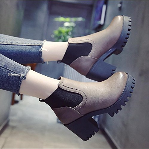 Boots Head Heeled 35 5Cm KHSKX With Short Boots Thick Boots Retro Martin Waterproof Taiwan Women'S Round England Women Autumn Shoes Winter 7 New High gqOZH