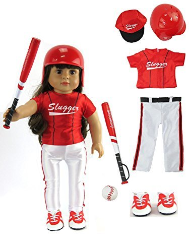 Girl Alexander Doll American Madame - Red Baseball Uniform with Baseball Bat, Helmet, and Shoes for Boy Doll | Fits 18