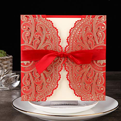 - Hophen 50pcs 6 inch Laser Cut Hollow Flora Wedding Invitations with envelopes Stickers and Ribbons for Wedding Bridal Shower Engagement Birthday Graduation Invite (Red)