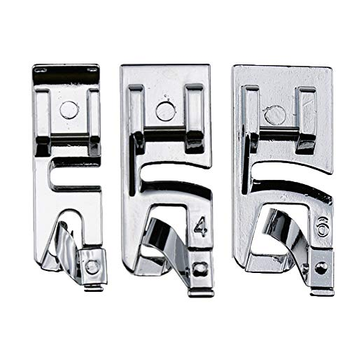 TFBOY Narrow Rolled Hem Foot Sewing Machine Hemmer Presser Foot 3 Pcs Set - Fits All Low Shank Snap-On Singer, Brother, Babylock, Euro-Pro, Janome, Kenmore, White, Juki, New Home
