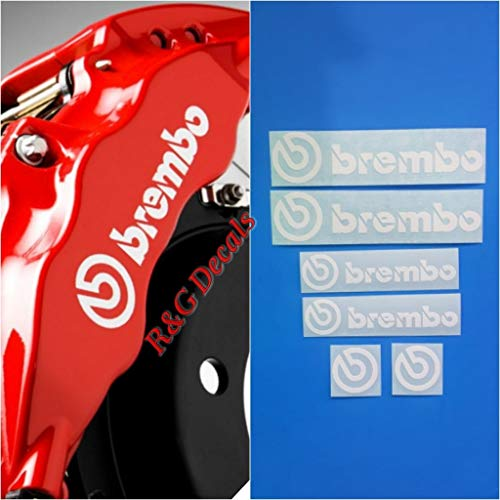 R&G Brembo Decal Combo Package for 6 Piston & 4 Piston & Brembo Logos Brake Caliper Decal Sticker High Temp Set of 6 Decals (White) ()