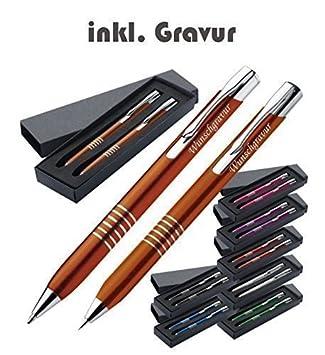Exklusives Kugelschreiber Set aus Metall inkl Gravur  graviert Druckbleistift