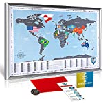 Framed Scratch off World Map with Country FLAGS - Premium Quality Travel Tracker Map with SILVER WOODEN FRAME 28.4x20.5''- Compact Deluxe Scratchable Poster w/Silver Foil