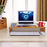 SONGMICS Bamboo Monitor Stand Riser with Storage Organizer, Laptop Cellphone TV Printer Stand Desktop Container, ULLD201