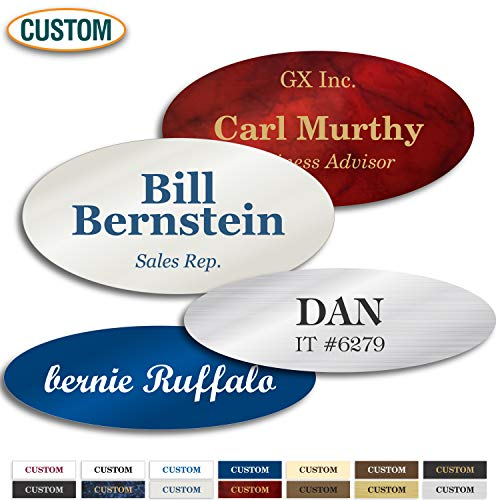 (Personalized Name Tag, Laser Engraved, Pin, Magnetic or Adhesive Backing, Choice of Colors, Classic Oval Collection by My Sign Center (1.5