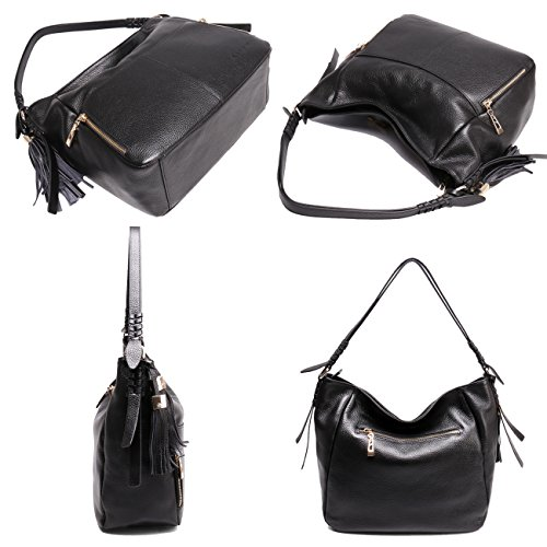 Geya Women's Fashion Genuine Leather Handbag Shoulder Handbag with Imported Soft Hot Leather (Black) by Geya (Image #6)