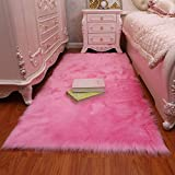 GIANCO FERRO Faux Fur Sheepskin Rug Fluffy Mat Chair Pad Fur Area Rugs Floor Carpet for Room Sofa Pink,1.7x3.3ft