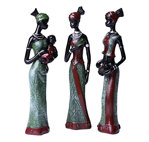 Greencherry African Girl Polyresin Exotic Woman Sculpture Tribal Lady Figurine Statue Decor Collection Color Green Pack of 3