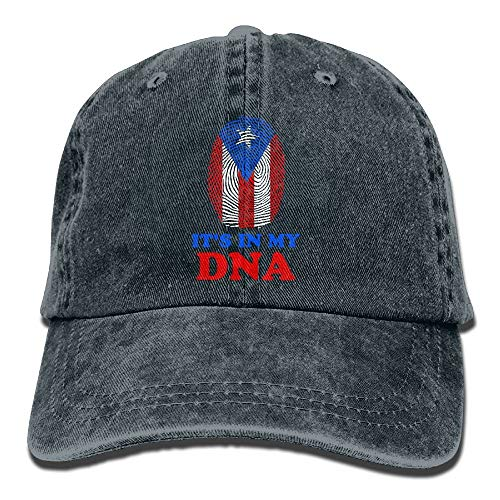 (Ted GIen Puerto Rico Flag It's in My DNA Adult Adjustable Denim Cotton Dad Hat Baseball Caps)