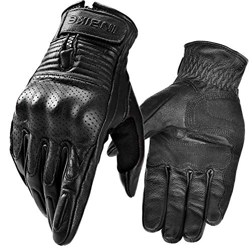 INBIKE Motorcycle Genuine Leather Gloves Men's Protective Motorbike Gloves Black X-Large (Motorbike Gloves Leather)