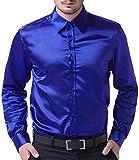 PAUL JONES Royal Blue Silk Like Stain Shirt for Men Slim Fit Dress Shirt Size XL