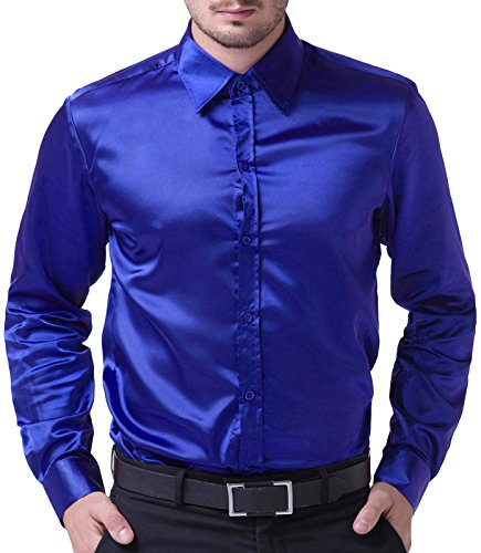 PJ PAUL JONES Men's Solid Color Shiny Satin Silk Like Dance Prom Dress Shirt(S,Royal Blue)