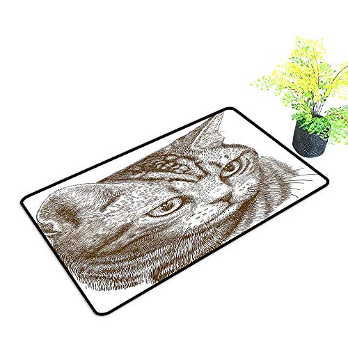 Zmstroy Entrance Door mat Cat Portrait of a Kitty Domestic Animal Hipster Best Company Fluffy Pet Graphic Art W30 xL39 Indoor Outdoor, Waterproof, Easy Clean Chocolate White