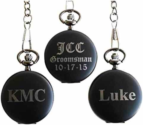 Personalized Monogrammed Quartz Black Matte Pocket Watch - Groomsmen Wedding Gifts - Engraved Free