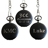 Personalized Monogrammed Quartz Black Matte Pocket Watch - Groomsmen Wedding Gifts - Engraved Free