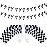 Hestya 40 Pieces Checkered Racing Flags with Plastic Sticks and 27.9 Feet Checkered Pennant Flags Banners for Birthday Race Themed Party Sport Events