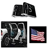 Soondar Universal Wireless Car Door Led Projector Light, Wireless Led Car Door Lights with Magnet Sensor Auto On/Off, Operated by AAA Batteries - American Flag