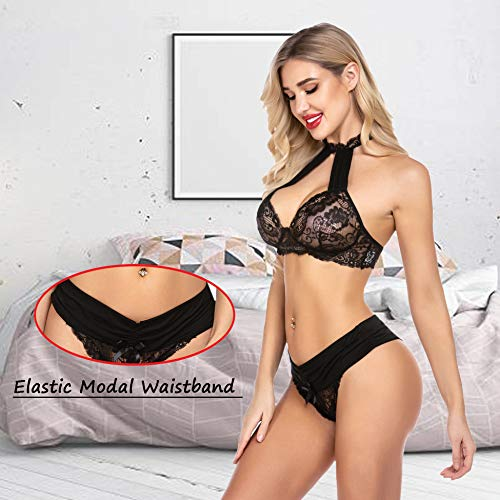 wearella Women Sexy Lingerie Set Lace Bra and Panty Set Halter 2 Piece Strappy Babydoll Bodysuit Underwear Black