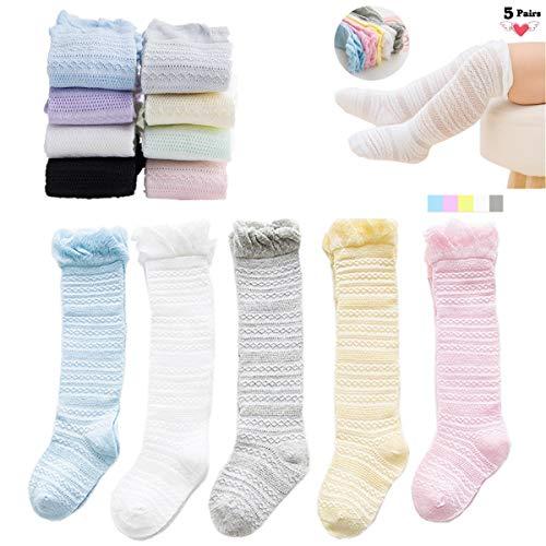 Baby Girls Boys Knee High Socks Toddler Eyelet Lace Socks 5 Pairs (M (1-2 Years)) ()
