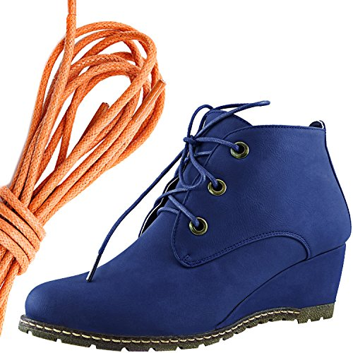 DailyShoes Womens Fashion Lace Up Round Toe Ankle High Oxford Wedge Bootie, Orange Blue Pu