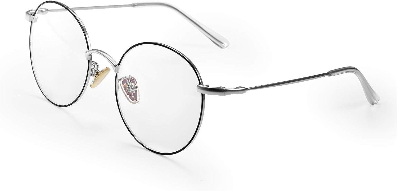 Aroncent Gafas Ópticas Resistente a Luz Azul Lentes Transparentes de Resina Marco Metal Patillas Elásticas Protector Ojos Plegable Portátil Ante Ordenador Regalo Hombre Mujer Unisex