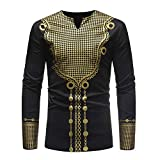 Clearance Deals,WUAI Men's Luxury Shirts Long Sleeve V-neck African Print Dashiki Personality Fashion Casual Tops(Black,US Size M = Tag L)