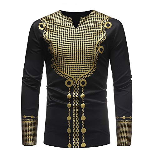 iZHH Mens Luxury African Print Autumn Winter Long Sleeve Dashiki Shirt Blouse(B-Black,L)
