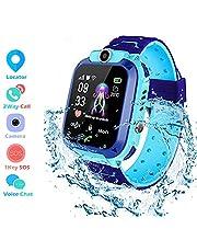 Inteligente Reloj para Niños, Winnes IP67 Impermeable Smart Watch Phone 2 Vías Llamada Reloj Niñas Localizador con SOS Anti-Lost Alarm Táctil Smartwatch para 3-12 Años De Edad (Azul)