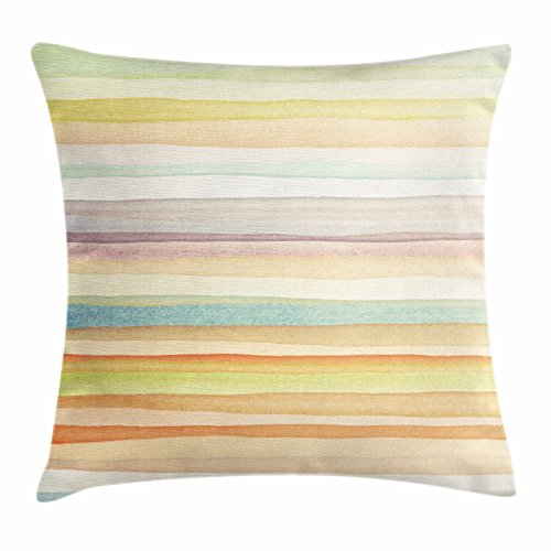"""Ambesonne Pastel Throw Pillow Cushion Cover, Horizontal Watercolors Stripes Acrylic Elements Liquid Brushstrokes Print, Decorative Square Accent Pillow Case, 20"""" X 20"""", Light Pink"""