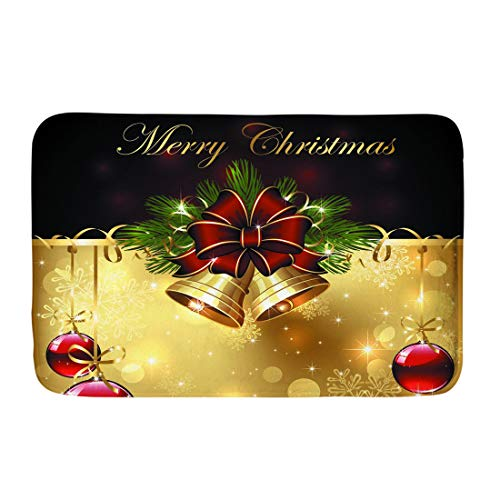 - Coloranimal Merry Christmas Bells Pattern Non Slip Shoes Scraper All Weather Exterior for Indoor Outdoor Entrance Entry Way Flannel Carpet Area Rugs
