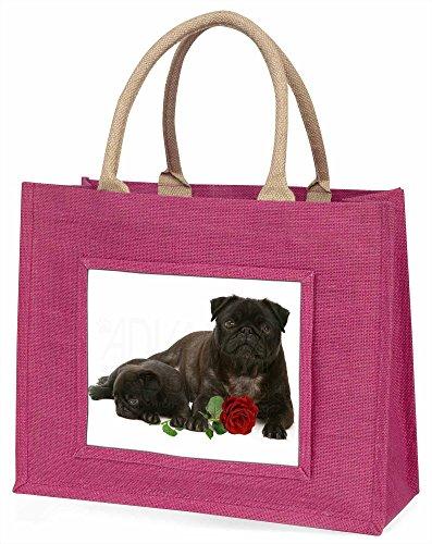 Advanta schwarzer Mops Hunde mit Rot Rose Große Einkaufstasche Weihnachten Geschenk Idee, Jute, Rosa, 42x 34,5x 2cm