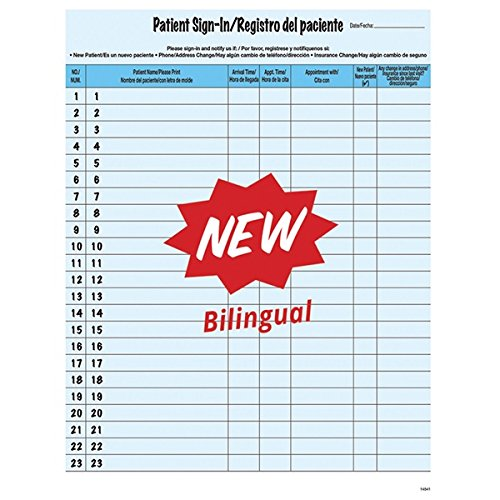 Blue English/Spanish Confidential Patient Sign-In Forms, 8-1/2'' x 11'', 23 Peel Off Label Sign In Lines (125 Forms/Pack)