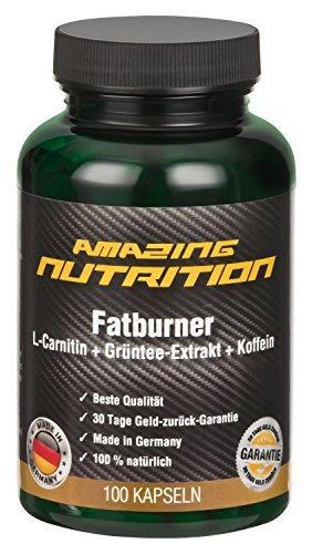 Fatburner Mit L-Carnitin + Grün Tee Extrakt + Koffein - 100 Kapseln - Schnell Abnehmen - Ideal Für Die Diät Und Unterstützt Die Fettverbrennung - Natürlich Abnehmen - Mehr Energie - Made in Germany
