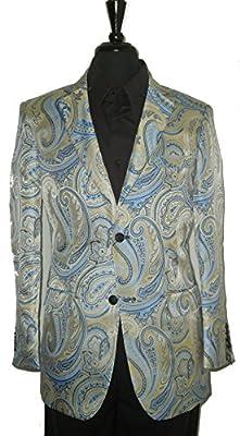 Leonardi 851 Mens Blue Pearl Paisley Stylish Perfomer Jacket Blazer