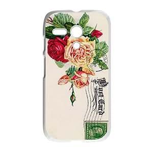 Motorola G Cell Phone Case White Roses Vintage Postcard Plastic Phone Case Cover For Boys XPDSUNTR24383