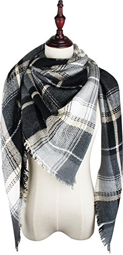 White Black Scarf (VIVIAN & VINCENT Women's Plaid Blanket Winter Scarf Warm Wrap Oversized Shawl Cape Black Grey)