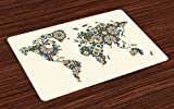 Lunarable Modern Place Mats Set of 4, Arabesque Moroccan Art Inspired Antique Mosaic Style World Map Middle East Culture, Washable Fabric Placemats for Dining Room Kitchen Table Decor, Multicolor