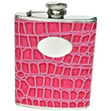"Visol ""Blush"" Crocodile Leather Stainless Steel Flask, 6-Ounce, Pink"