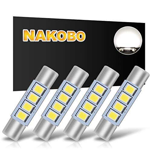 NAKOBO 2835 Chipsets (More Brighter)White 28mm 29mm Festoon Led Bulb 3-SMD 6614F 6612F for Car Interior Vanity Mirror Sun Visor Lights (pack of 4)