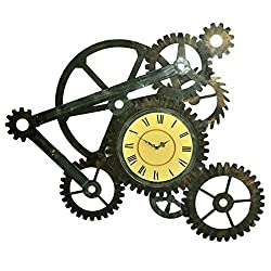 Wall Décor\Wall Pediments Wall decorations, retro wrought iron industrial wind stereo gear wall clock wall hanging bar background wall decorations