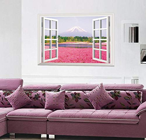 LMYLY Pink Flower Sea 3D Three-Dimensional Fake Window Landscape Wall Stickers Living Room Bedroom Green Wall Stickers Size 60X90Cm (A Kind Of Flower That Begins With D)