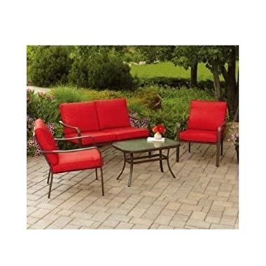 Patio Furniture 4-Piece Set-Glass Top Table, Chairs, Sofa Lounger Loveseat and Cushions For Outdoor Backyard BBQ Grilling, Swimming Pool, Garden, Red Color-Assembly Required