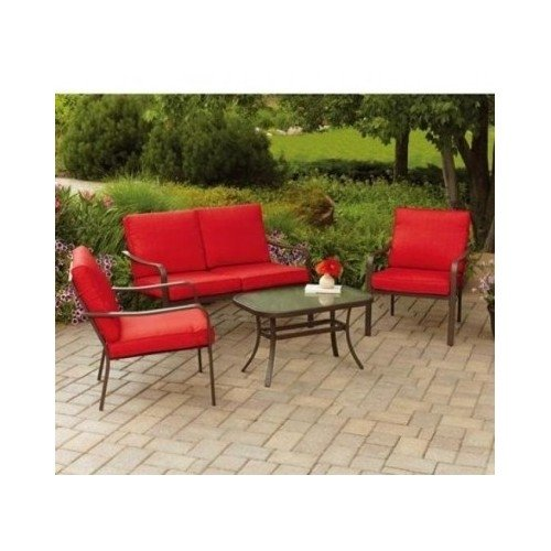 Patio Furniture 4-Piece Set-Glass Top Table, Chairs, Sofa Lounger Loveseat and Cushions For Outdoor Backyard BBQ Grilling, Swimming Pool, Garden, Red Color-Assembly ()