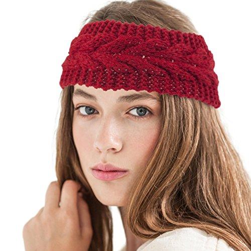 Zodaca Womens Plain Braided Winter Knit Crochet Headband, Warm Knitted Hat Head Wrap Hair Band For Winter/Fall/Autumn, Red
