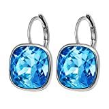Xuping Fashion Golden Crystals from Swarovski Platinum Plated Huggies Hoop Earring Valentine's Day Jewelry Gifts (Aquamarine)