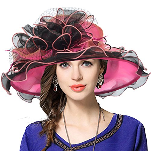 Women's Church Derby Dress Fascinator Bridal Cap British Tea Party Wedding Hat (Two-Tone-Hot Pink)